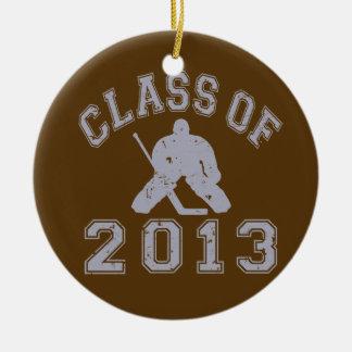 Clase del portero 2013 del hockey adorno redondo de cerámica