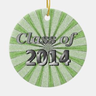 Clase del verde 2014 y de plata adorno navideño redondo de cerámica