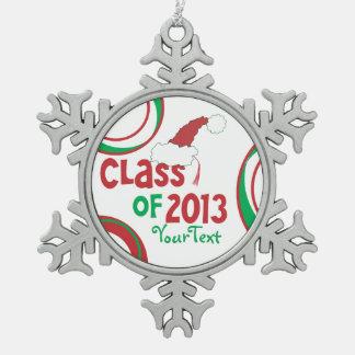 Clase divertida de la borla 2013 de la graduación adorno de peltre en forma de copo de nieve