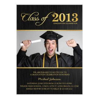 Clase elegante del negro y del oro de la graduació invitacion personalizada