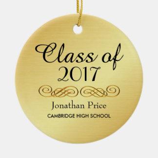 Clase elegante del oro de navidad de la graduación adorno de cerámica