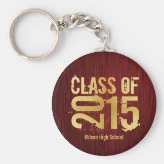 Clase elegante del rojo y del oro de la graduación llavero redondo tipo chapa