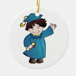 Clase graduada de trajes azules del muchacho adorno redondo de cerámica
