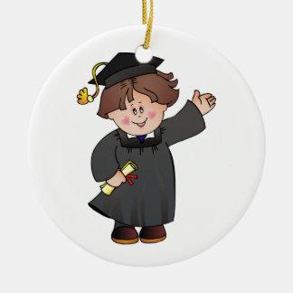 Clase graduada de trajes del negro del muchacho adorno redondo de cerámica