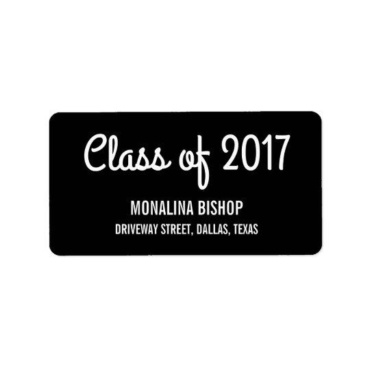 Clase graduada moderna del negro 2017 de la etiqueta de dirección