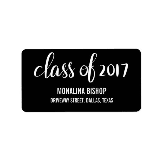 Clase graduada moderna del negro 2017 de la etiquetas de dirección