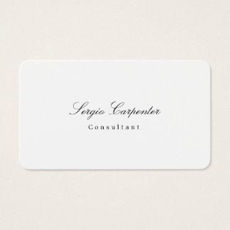 Clase minimalista blanca llana simple elegante de tarjeta de negocios