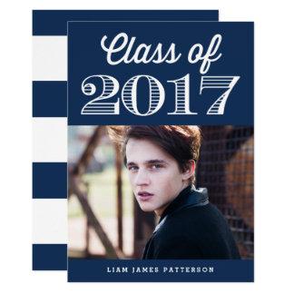 Clase retra de la tipografía de graduación de 2017 invitación 12,7 x 17,8 cm