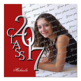 Clase roja de la graduación 2017 de la foto invitación 13,3 cm x 13,3cm