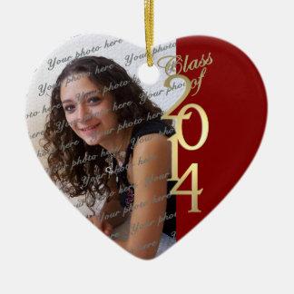 Clase roja de la graduación de 2014 adorno navideño de cerámica en forma de corazón