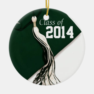 Clase verde del ornamento 2014 adorno navideño redondo de cerámica