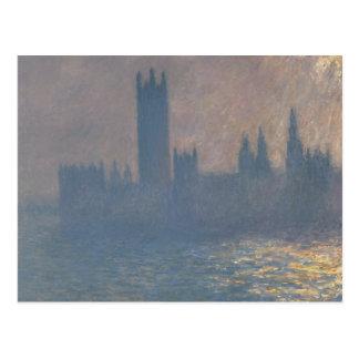 Claude Monet - casas del parlamento, luz del sol Postal