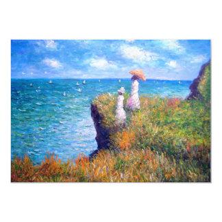 Claude Monet: Paseo del acantilado en Pourville Invitación 12,7 X 17,8 Cm
