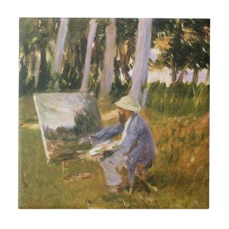 Claude Monet que pinta, borde de una madera por Azulejo Cuadrado Pequeño
