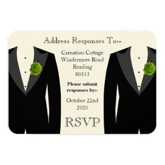 Clavel verde RSVP para un boda gay Invitación 8,9 X 12,7 Cm