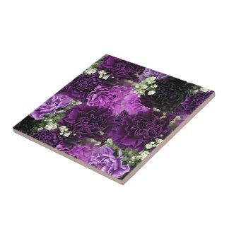 Claveles de la púrpura del ramo azulejo cuadrado pequeño