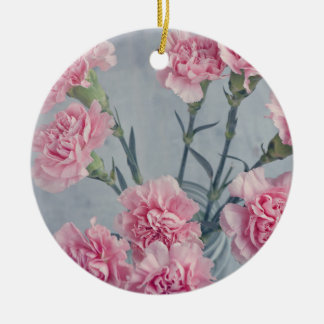 Claveles rosados adorno navideño redondo de cerámica