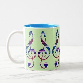 Clef agudo taza de café de dos colores