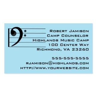Clef bajo de la música del consejero azul del tarjetas de visita