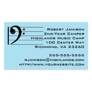 Clef bajo del campista azul de la música tarjetas de visita