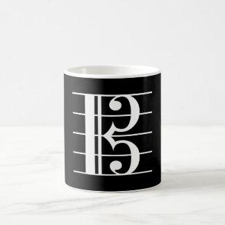 Clef de alto Blanco-en-Negro Taza De Café