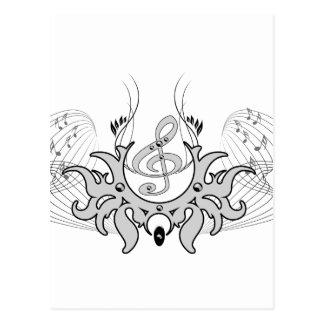 Clef decorativo con las notas dominantes postal