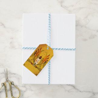 Clef en un botón decorativo, diseño de oro etiquetas para regalos