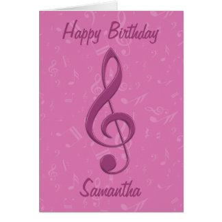 Clef rosado femenino y cumpleaños de las notas mus tarjetas