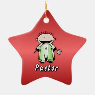 Clero religioso del pastor del empleo adorno navideño de cerámica en forma de estrella