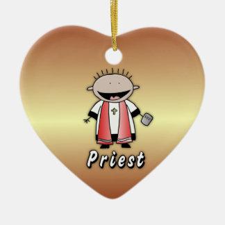 Clero religioso del sacerdote del empleo adorno de cerámica en forma de corazón