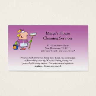 Cliente rosado de la limpieza de la casa de la tarjeta de negocios