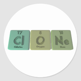 Clone-Cl-O-Ne-Chlorine-Oxygen-Neon.png Pegatina Redonda