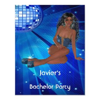 Club azul del disco del chica de la despedida de invitación 10,8 x 13,9 cm