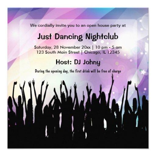 Club nocturno de la gran inauguración invitacion personalizada