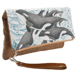 Clutch Azul antiguo de la familia de las ballenas de la