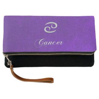 Clutch Cáncer de cuero púrpura de la muestra del zodiaco