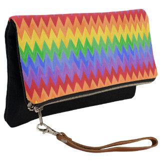 Clutch Modelo de la impresión del zigzag del arco iris
