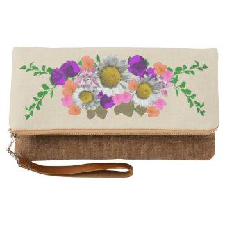 Clutch Moreno floral del acento de la margarita preciosa