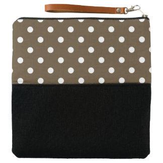 Clutch Style-Polka-Dot_Clutch_Wristlet_Brown-Multi-Color