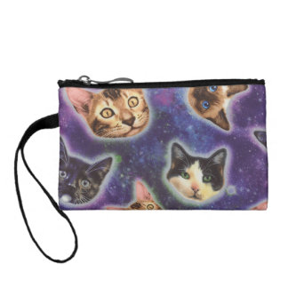 Clutch Tipo Monedero cara del gato - gato - gatos divertidos - espacio