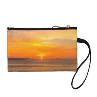 Clutch Tipo Monedero Costa de la puesta del sol con Sun anaranjado y