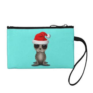 Clutch Tipo Monedero Cría de foca que lleva un gorra de Santa