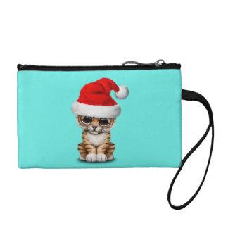 Clutch Tipo Monedero Tigre Cub lindo que lleva un gorra de Santa
