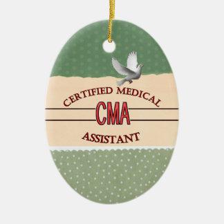 CMA certificó el LOGOTIPO del auxiliar médico Adorno Navideño Ovalado De Cerámica
