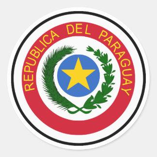 """COA de Paraguay "" Pegatina Redonda"