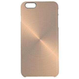Cobre pulido textura realista fresca del metal funda transparente para iPhone 6 plus