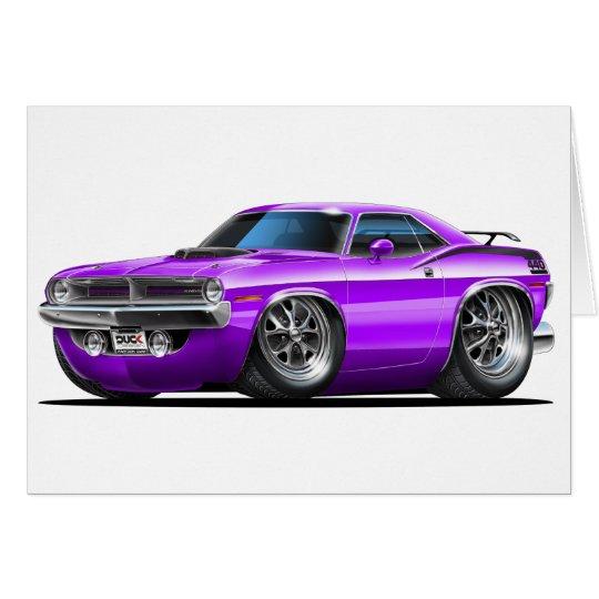 Coche 1970 de la púrpura de Plymouth Cuda Tarjeta De Felicitación