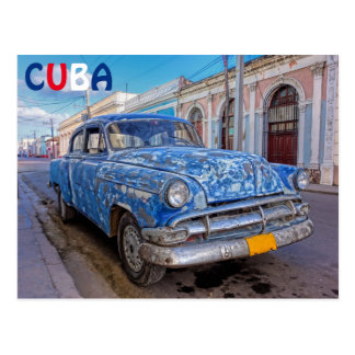 Coche americano clásico en Cienfuegos, postal de