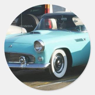 Coche auto de Collctor de la turquesa clásica Pegatina Redonda