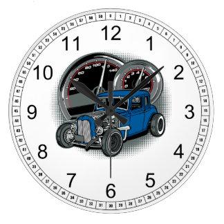 Coche azul de la calle de Rod de la rata Reloj Redondo Grande